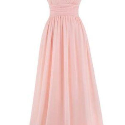 new fashion bridesmaid dress one shoulder pink chiffon evening gown party dress A line fashion prom dress mopping the floor