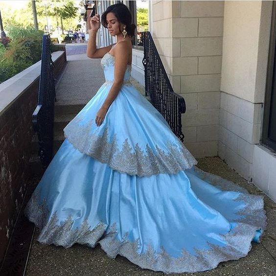 Classy Blue Ball Bown Appliques Satin Evening Dress,sweetheart wedding dress, sweep train bridal dress,lace applique