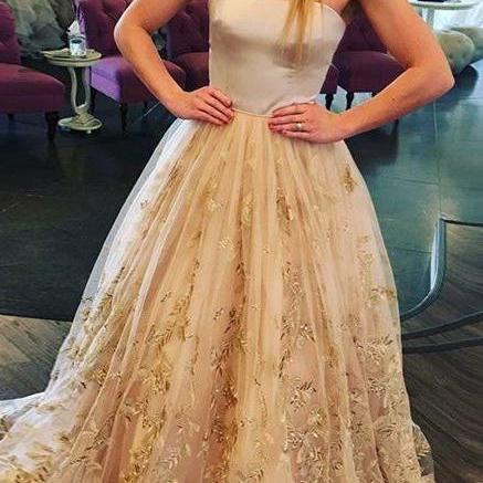 Strapless Sweep Train A Line Long Prom Dress With Floral Appliques,sweetheart wedding dress, sweep train bridal dress,lace applique