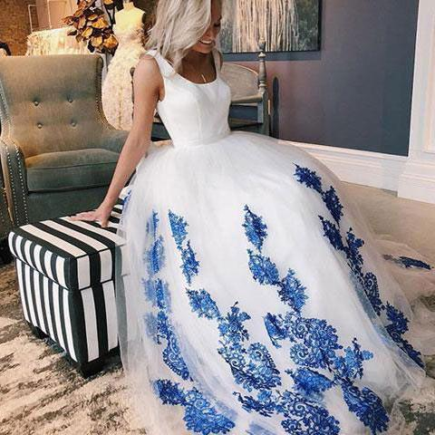 A-LINE SCOOP WHITE PROM DRESSES WITH APPLIQUE LONG PROM DRESSES EVENING DRESS
