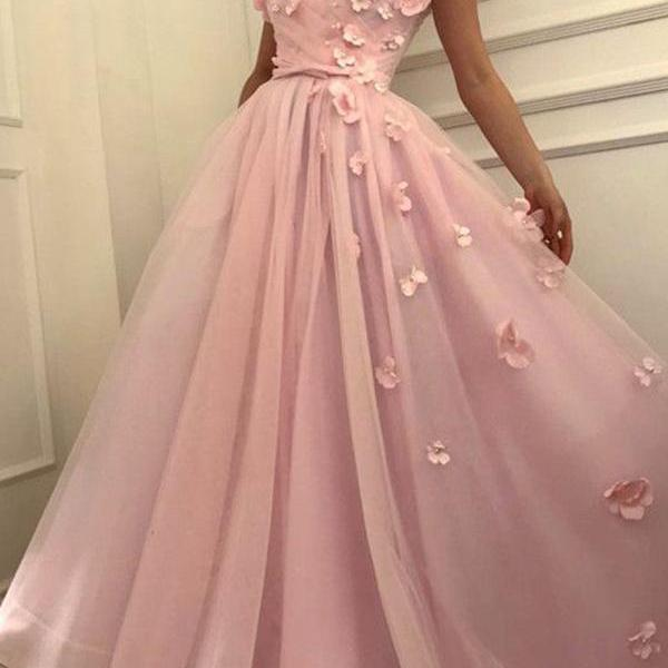 CHIC A-LINE OFF-THE-SHOULDER PINK PROM DRESS FLORAL PROM DRESSES LONG EVENING DRESS