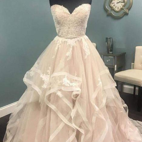 A-Line Sweetheart Light Pink Tulle Wedding Dress with Lace Beading