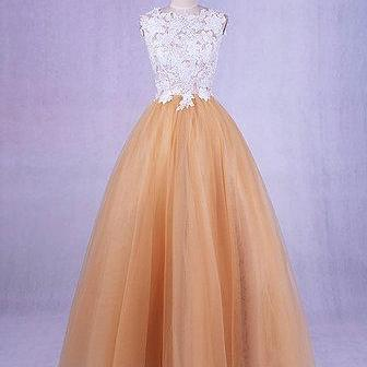 Champagne tulle O neck long open back party dress, long lace sweet 16 prom dress