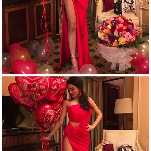 Sheath One Shoulder Side Slit Red Stretch Satin Prom Dress