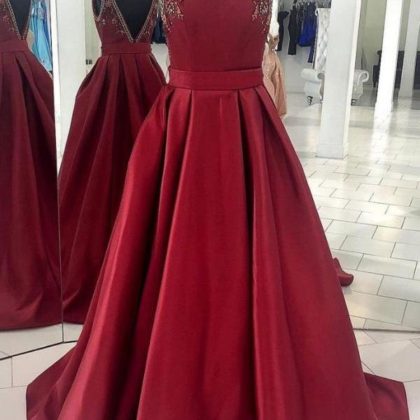BURGUNDY SATIN LONG PROM DRESS, BURGUNDY SATIN EVENING DRESS
