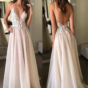 Custom Made A Line V Neck Backless Lace Ivory Prom Dress, Backless Forma