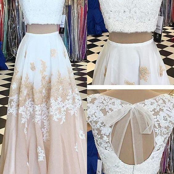 Two Piece Bateau Champagne Chiffon Sweep Train Beaded Prom Dress with Appliques,