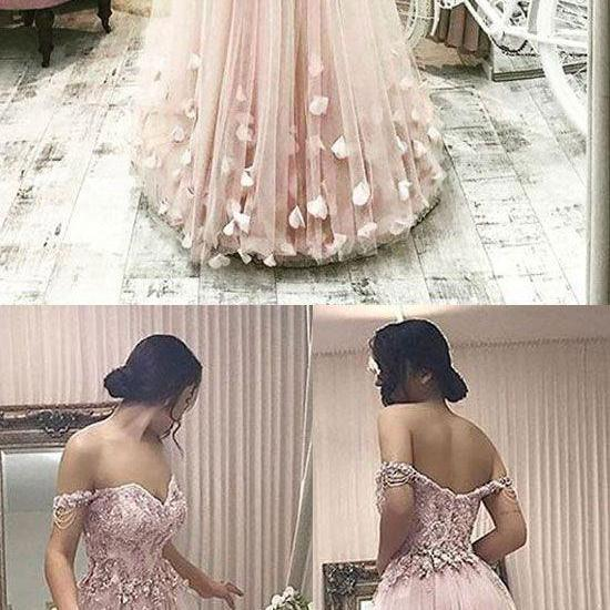 Pink tulle off shoulder long prom dress, pink evening dres appliques party dress long wedding dress