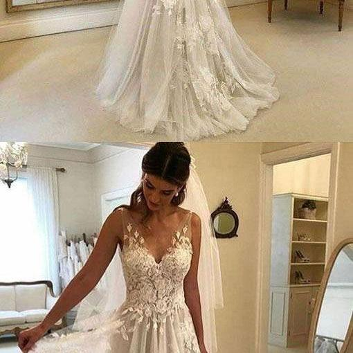 V Neck V Back Floor Length Tulle Wedding Dress with Appliques long wedding dress sexy wedding dress