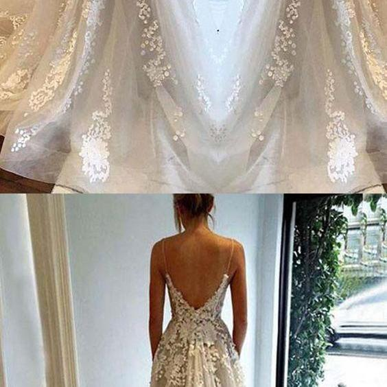 A-line Spaghetti Straps Floor-length Sleeveless Tulle Wedding Dress appliques weding dress