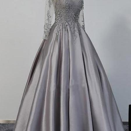 Long Sleeves Prom Dresses, Grey Prom Dresses, Satin Prom Dresses, Beaded Prom Dresses