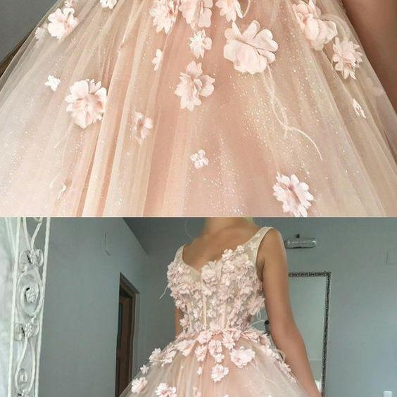 Ball Gown V-Neck Floor-Length Pearl Pink Tulle Quinceanera Dress with Flowers