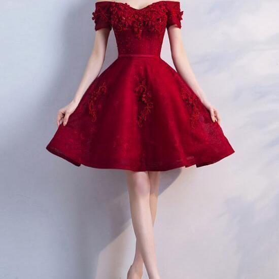 wine red party dress off shoulder evening dress lace applique homecoming dress