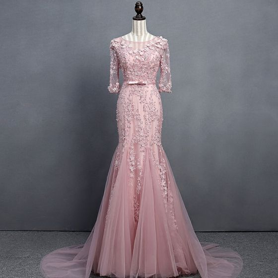 pink party dress long sleeve evening dress lace applique prom dress tulle mermaid formal dress