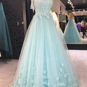 Sexy Tulle Prom Dresses, Baby Blue Prom Dress,Cheap evening dress