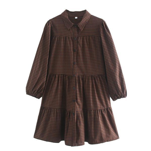 2020 autumn long-sleeved plied dress