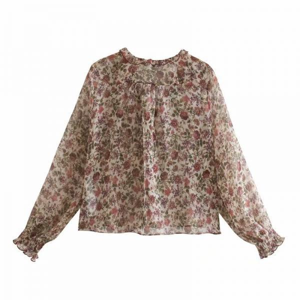 Printed chiffon blouse for women in autumn