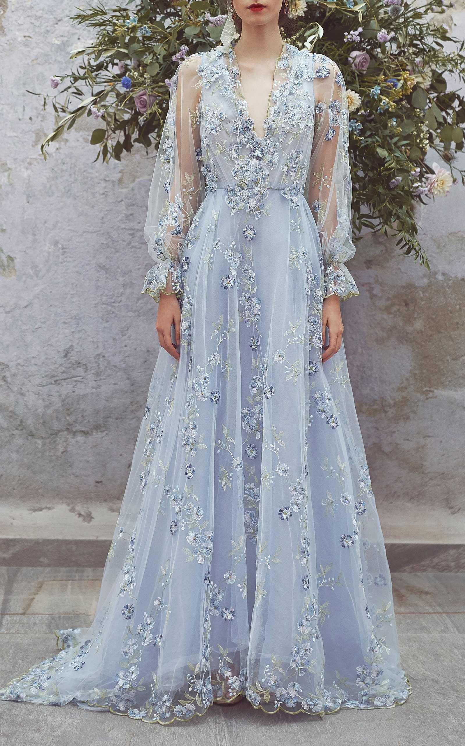 a25213629 Charming Embroidered Tulle Prom Dress, V-Neck Long Sleeve Prom Dress, Chic  Long Prom Dresses ,2018 N on Luulla